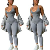 Women Jumpsuits Rompers summer fall clothes sleeveless scoop neck spaghetti strap bodysuits leggings full-length pants running fitness joggers outerwear 01612