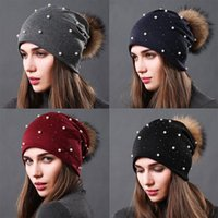 Beanie Skull Caps 2021 Women's Winter Knitted Beanie Hat Real Raccoon Fur Pom With Pearls Beaded Trim Warm Cap For Women Knited
