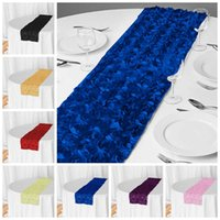 New Design Rosette Satin Table Runner Banquet Tablecloth Runners For Wedding Event Party Home Decorate
