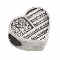Jewelry Findings Space Beads Charms Bracelet DIY Alloy Heart Love US Flag Large Hole Antique Silver Handmade Fashion 13*12*mm 100pcs