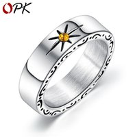 OPK Hot-Selling Ornament Personality Retro Sun Stainless Steel Ring Mens Japanese and Korean Hiphop Street Ring Accessories