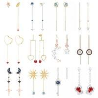 Stud High Quality SWA ED010 Earring Original 1: 1 Ladies Fashion Cartoon Star Heart Shape Love Moon Ear Line Jewelry.