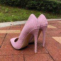 Robe chaussures Tikicup Rose Femmes tissés tissés pointus Toe Stiletto pompes dames Mariage Bridemaids 8CM 10cm 12cm Talons hauts Taille 33-