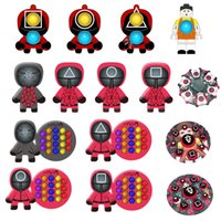 Squid Game Party Favor Fidget Toys Christmas Decompression Toy Halloween Squeeze Push Bubble Relieve for Autism Keychain