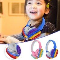 2022 favör huvudmonterad söt regnbåge Bluetooth stereo headset push it bubble sensory leksak enkel dimple antistress fidget leksaker grossist ct24