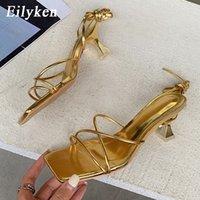 Eilken Fashion Gold Silver Mujer Sandalias delgado Tacón bajo Lace Up Roma Sandalia Verano Gladiador Casual Sandal Sandal Sandal Banda estrecha Zapatos