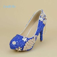 New Royal Blue Pearl Wedding Shoes and Bags Sets Women's High Heels Platform Shoes Woman Party Dress Shoe with Matching Bag Q0709