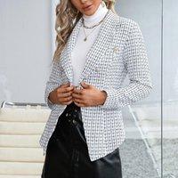 Women's Suits & Blazers Office Lady Elegant Plaid Blazer Fashionable Women Autumn V-neck Long-sleeved Button Jackets Coat Business Attire