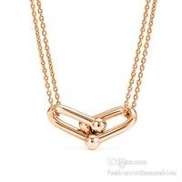 Diamond Necklace Choker mens jewelry men chain necklaces women Gold platinum rose U shaped Pendant 40-45cm Statement locket Silver butterfly Gift Horseshoe 6 Option