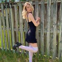 Pixiekiki Sexy Ruffled без рукавов мини-платье 2021 летняя одежда для женщин Egirta Lolita Black Chiffon Sundresses P84-CG17 повседневные платья