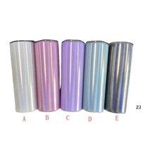 20 oz Sublimación en blanco Taza del vaso flaco con paja de acero inoxidable brillo vino tazas arco iris aislado café cerveza tazas HWB8869