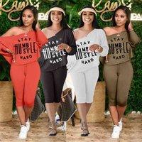 Summer Womens Two Piece Short Set Oversize Loose T-shirt Épaule Off Blouse et genou Pantalons Longs Leggings Tentage Home Tracksuits Pajamas Vêtements G656FR5