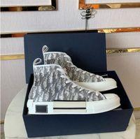 2021 Sapatilhas de Designer de Luxo Homens Oblíquos Sapatos de Lona Alta Low Mens Sneaker Técnico Couro Técnico Mulheres Casuais Top Quality Top Quality Luxurys Treinadores com caixa tamanho 35-46