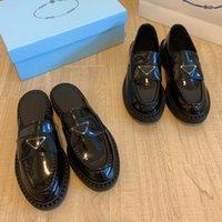 مصمم monolith النساء الأحذية السوداء لامعة الجلود شبشب أشار سميكة أسفل المتسكعون منصة المطاط أحذية رياضية مكتنزة جولة رئيس حذاء