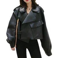 Women's Leather & Faux Jaqueta de couro ailegogo feminina, casaco sintético preto, solto, vintage, com bolsos curtos, motor, pu, para outono SOHK