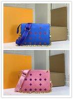 مصمم فاخر كوسين PM M57790 نوير مجموعة خط الكتف حقيبة الأزرق الوردي الحجم: 26 × 20 × 12 سم