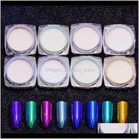 LASER Specchio in polvere Shinning Holographic Blue Polvere verde Polvere Chrome Chiodi Pigmento Glitters Decorazioni artistiche C43BT 2YWPO
