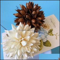 Decorative Festive Supplies Gardendecorative Flowers & Wreaths 5Pcs Natural Dried White Brown Magnolia Flower Ball Head For Wedding Party Ho