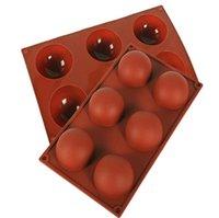 3D hemisférico molde de silicone grande 6 buracos de alimento grau de cozimento molde prático chocolate doces geléia mofo acessórios de cozimento 5 cores