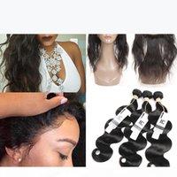 브라질 인간의 머리카락 3 번들 바디 웨이브 360 레이스 정면 번들 브라질 말레이시아 인도 페루 인간의 머리카락 번들