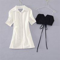 Donne Ufficio Lady Due pezzi Set Set Abiti coreani Abiti coreani Bandaggio Bandage Vest + Abito da camicia a maniche a soffio sciolto Summer 2 Set Suits 210530
