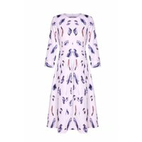Womens Vogue Floral Print Dress Evening Party 3 5 Sleee A-line Swing Dresses Casual
