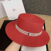New Ceramic Pearl Hot Drill Top Hat Summer Beach Holiday Sun Temperament Lady Straw