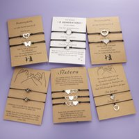 2 teile / satz Herz Kreis Perlen Charm Armbänder für Frauen Mädchen Handmade Black Thread Armbänder Schmuck mit Karte Müttertag Geschenk