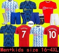 21 22 سانشو مانشستر لكرة القدم الفانيلة United Bruno Fernandes Martial Utd Pogba Rashford Football Company 2021 2022 Women Man + Kids Kit Shirts Lindelof Maguire James