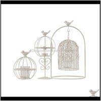 Holders Décor & Gardeneuropean Style Bird Cage Tea Light Holder Vintage Iron Cutwork Hanging Candle Lantern Retro White Candlestick For Home