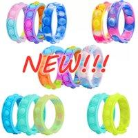 미국 재고 감압 팔찌 프레스 거품 Fidget Toys Rainbow Color Wristband Antistress Sensory Toys 어린이 푸시 장난감