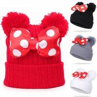 4 Cores Bebê Pom Beanie Beanie Crianças Crianças Bebê Meninas de Inverno Quente Crochet Chapéu De Malha Chapéu De Pele Curva Chapéu Atacado JY820