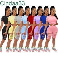 Women Tracksuits Two Pieces Set Deisgner Slim Sexy Solid Color Burnt Flower Hole Exposed Navel Short Sleeve T-shirt Shorts Outfits 8 Colours