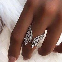 Anillo de alas de ángel femenino 100% 925 plata esterlina Diamante Zircon CZ Compromiso Anillos de boda de boda para mujer Joyería dedo