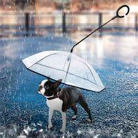 Guarda-chuva transparente do animal de estimação do punho telescópico com trela do cão para chuva que anda guarda-chuvas impermeável gato suprimentos para animais de estimação 210729