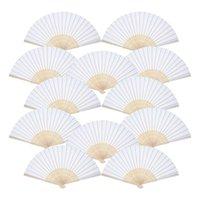 Miglior confezione da 12 zampe tenuta a mano Ventilatori di carta bianca Ventilatori in bambù Fan pieghevoli in bambù Fan piegati per la chiesa regalo di nozze, favori del partito