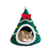 개집 펜 크리스마스 트리 애완 동물 개 고양이 동굴 하우스 잠자는 침대 반 닫힌 따뜻한 부드러운 겨울 고양이 케이지 크리스마스 선물