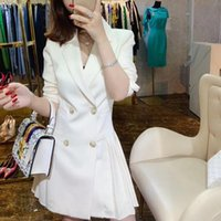 Casual Dresses Spring Autumn Double-Breasted Women Blazer Dress Office Ladies Notched Long Sleeve Pleated Slim Suit Female White