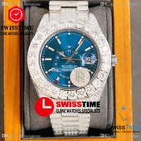 RF 42mm Sky Miyota Automatic Mens Watch Big Paved Diamond Case Blue Dial White Stick Markers Fully Iced Out 904L Steel Bracelet Jewelry Watches Swisstime F07b2