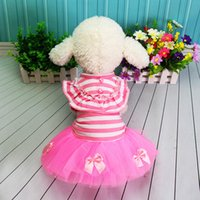 Dog apparel Pet Clothes Skirt Teddy Poodle Pastoral Striped Shawl Spring and Summer Dress Supplies Princess