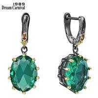 DreamCarnival1989 grandes brincos de gota verde para mulheres delicadas corte fino deslumbrante zircão nupcão jóias ing we4034