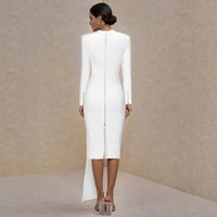 Casual Dresses Arrival Drape Crew Long Sleeve Bandage Dress Winter Women White Bodycon Sexy Evening Party