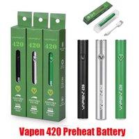 Originale vapen 420 batteria preriscaldamento 420mAh preheat vv vape box mod regolabile a tensione variabile inferiore USB per 510 cartuccia olio spessa Ego 100% autentico