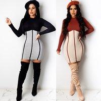 Пэчворк Slim Womens дизайнерские платья корпоративное цветное цвет с длинным рукавом женщины платье повседневная сексуальная весенняя летняя одежда