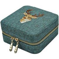 الكتان مربع متعددة الوظائف قلادة حلقة الخواتم سوار التخزين المنظم فتاة هدية الحقائب المجوهرات الخضراء، أكياس