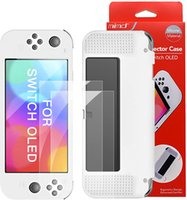Dockable Case for New Nintendo Switch OLED Model with 2 Pieces Screen Protector Film TPU Shock Absorption Anti-Scratch Protective Cover Game Accessories-White