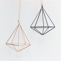 hanging Air Plant Holder Modern Geometric Planter Container Air Plant Rack Planters Pots Wall Decor five sided GWB8935