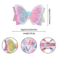 Newest INS 8 Colors 3.5 Inch Mermaid Unicorn Girls Hairclips Butterfly Headband Hairbows Kids Girls Hair Accessories NHE6295