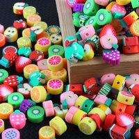 50pcs 10mm Mixed Color Fruit Beads Polymer Clay Beads Polymer Clay Spacer Loose Beads For Necklace DIY Bracelet Accessories