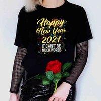 سنة سعيدة جديدة 2021 طباعة جمهورية الرسم تي شيرت المتناثرة الصيف الملابس قمم للنساء عارضة زائد حجم رواج المرأة بلايز